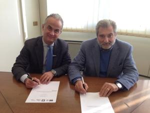 foto assessore Russo con sindaco di Caserta Pio Del Gaudio per PIU Europa Caserta