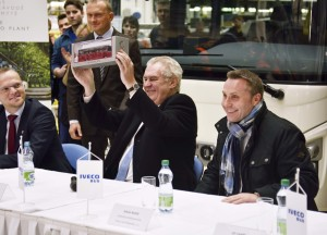 Czech Republic President Zeman hold scale model of Iveco Bus vehicle with Sylvain Blaise (right) Head of Global Bus at CNH Industrial
