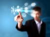 A businessman working on modern technology, selective focus